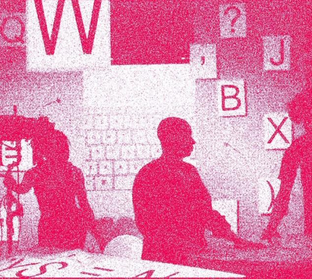 """Image containing pink grain outlines on a white background. Outlines depict three people standing in the foreground with tiled letters """"Q,"""" """"W,"""" """"',"""" """"?,"""" """"B,"""" and """"X"""" clearly. Other letters unclear."""